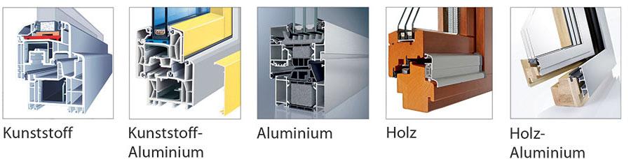 Bild Rahmenmaterial für Fenster: Kunststoff, Alu, Holz
